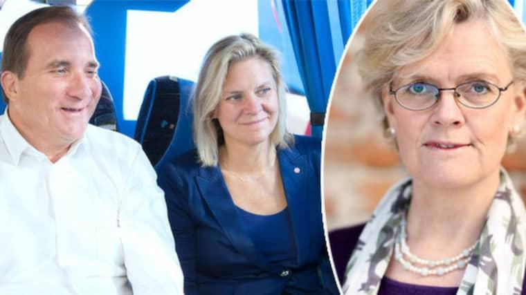 Carola Lemne, vd för Svenskt näringsliv, efterfrågar en plan från regeringen för fler jobb. Foto: Sven Lindwall/Sören Andersson