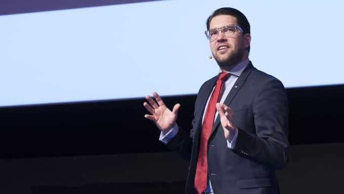 Jimmie Åkesson riktar kritik mot statsminister Stefan Löfven. Foto: Sven Lindwall