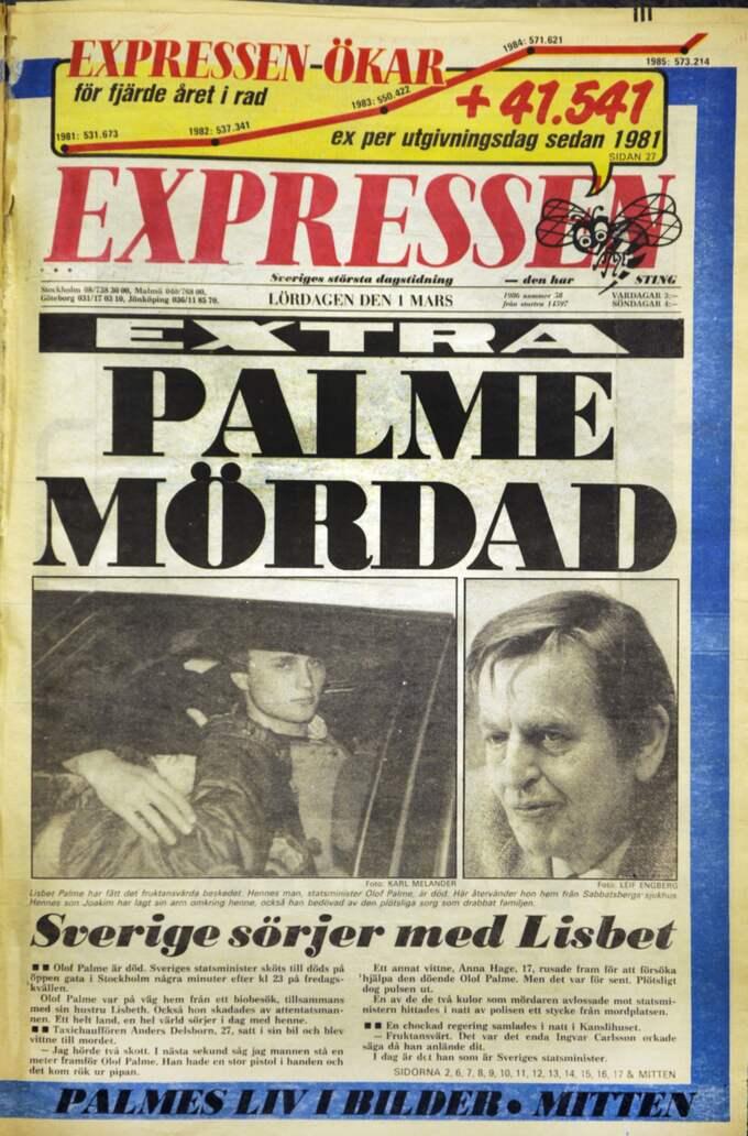 Expressens förstasida lördag 1 mars 1986 Foto: Jan Düsing