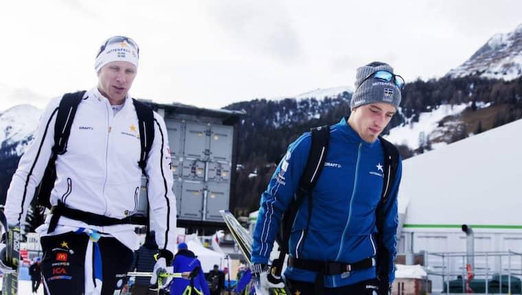 Daniel Richardsson och Calle Halfvarsson är, som de flesta skidstjärnor, missnöjda med världscupprogrammet fram till VM. Foto: Nils Petter Nilsson