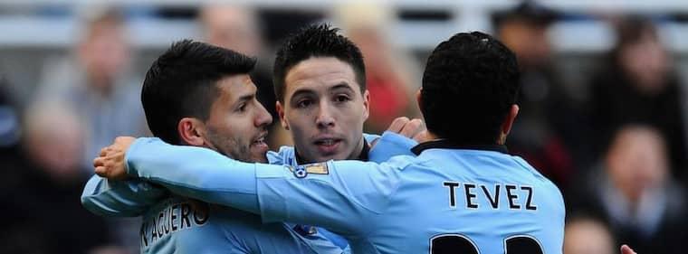 Agüero, Nasri och Tevez – tre av Manchester Citys storvärvningar. Foto: Laurence Griffiths