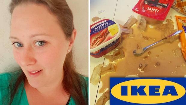 """Rosalies glas från Ikea exploderade: """"Splitter överallt"""""""