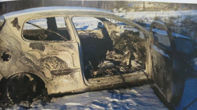 Den 4 februari 2014 hittades 31-åringens utbrända bil på en parkeringsplats i trakten av Snogeröd. Foto: Polisen