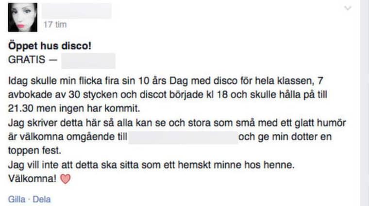"""I sitt inlägg på Facebook bjöd Therese Gunnarsson in till öppet hus där människor var välkomna """"omgående."""" Foto: Skärmdump från Facebook"""