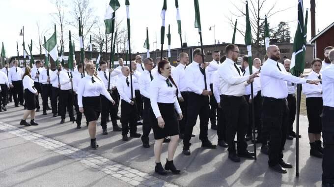 Nordiska motståndsrörelsen har samlats på första maj. Foto: SVEN LINDWALL