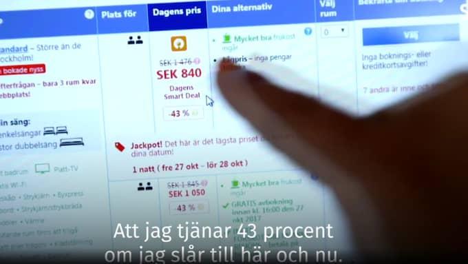 Överstrukna priser på Booking.com. Efter SVT:s första publicering ändrade man på sajten.