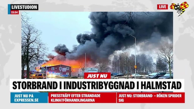 Storbrand i industrilokal i Halmstad