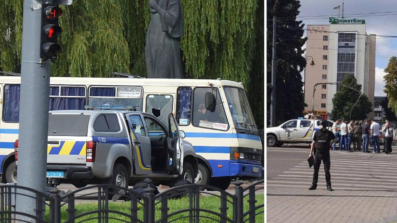 Man har tagit gisslan på buss i Ukraina