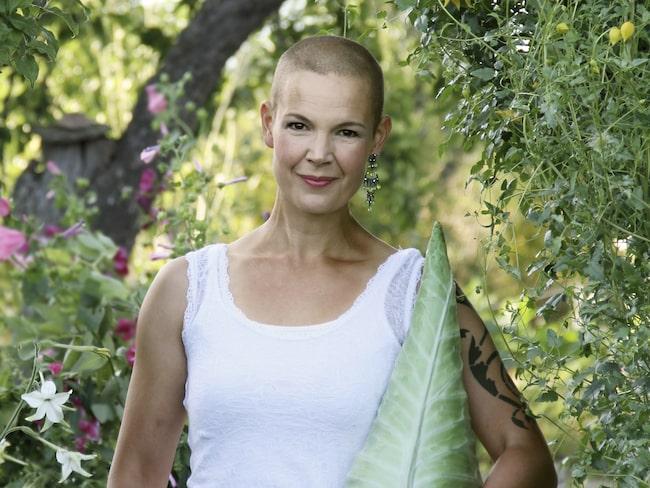 Egna grönsaker. Sara Bäckmos köksträdgård är 450 kvadratmeter stor.
