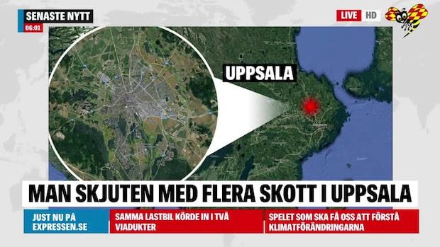 Man skjuten med flera skott i Uppsala