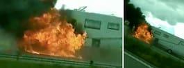 Husbil i kraftig brand  – motorväg avstängd