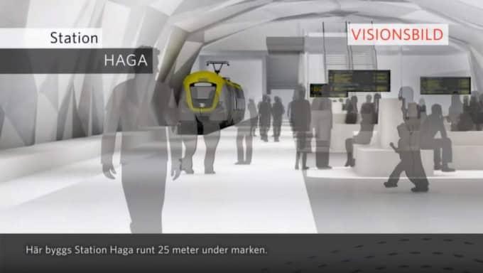 SKRÄCKSCENARIOT. Stationen i Haga är enligt planen 25 meter under jord. Nu slår räddningstjänsten larm om att bristen av en parallell räddningstunnel längs stora delar av Västlänken kan innebära en responstid på runt 45 minuter vid en brand eller tågolycka. Foto: Trafikverket