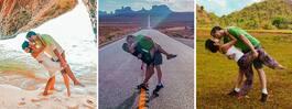 Kärleksparet reser jorden runt – och tar samma bild