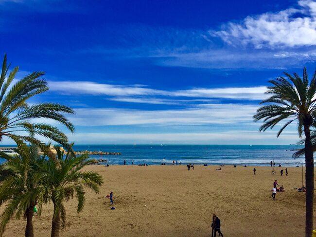 Barcelona har strandliv året om.