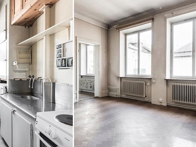 Köket är från svunna tider, skriver mäklaren i bostadsannonsen.