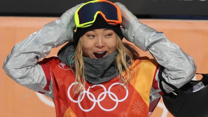 Chloe Kim tog OS-guld i halfpipe. Foto: FAZRY ISMAIL / EPA / TT / EPA TT NYHETSBYRÅN