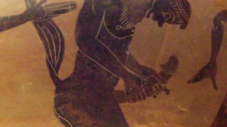 Detalj från en grekisk kruka, 600 år f. Kr., föreställande en masturberande satyr. Foto: Luis García / WIKIPEDIA