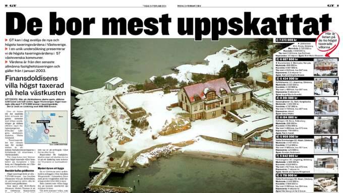 2004 skrev GT om finansdoldisen och riskkapitalisten Thomas Olaussons villa på Järkholmen i Hovås, den då högst beskattade privatbostaden i Västsverige. Foto: GT 2004-02-24