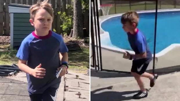 Sjuåriga Steven sprang sex timmar – hemma i trädgården