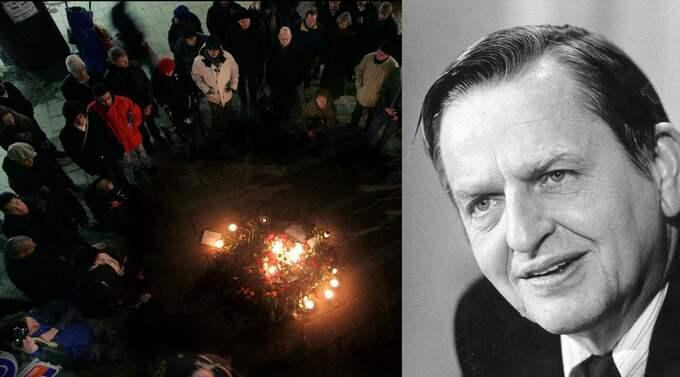 Minneshögtiden för fem år sedan vid platsen där Olof Palme mördades. Foto: Robban Andersson