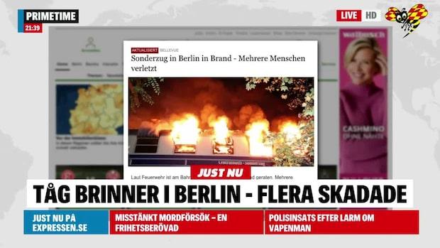 Tåg brinner i Berlin – flera skadade