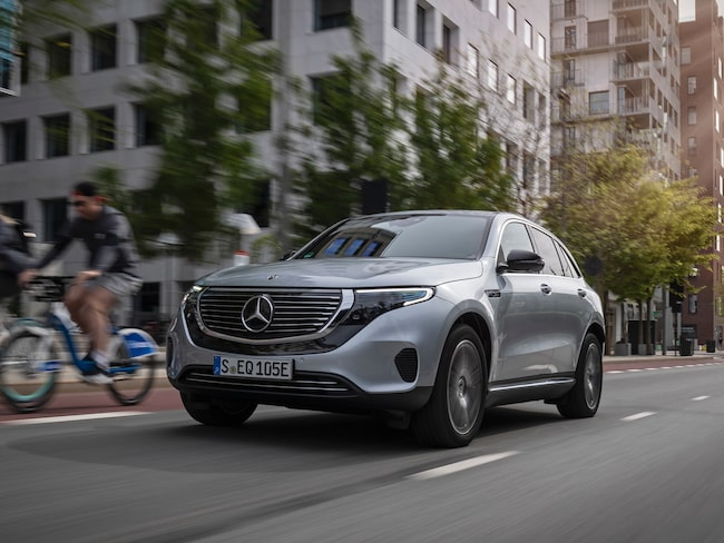 Mercedes EQC, den tyska tillverkarens första elbil i serieproduktion (under namnet Mercedes).