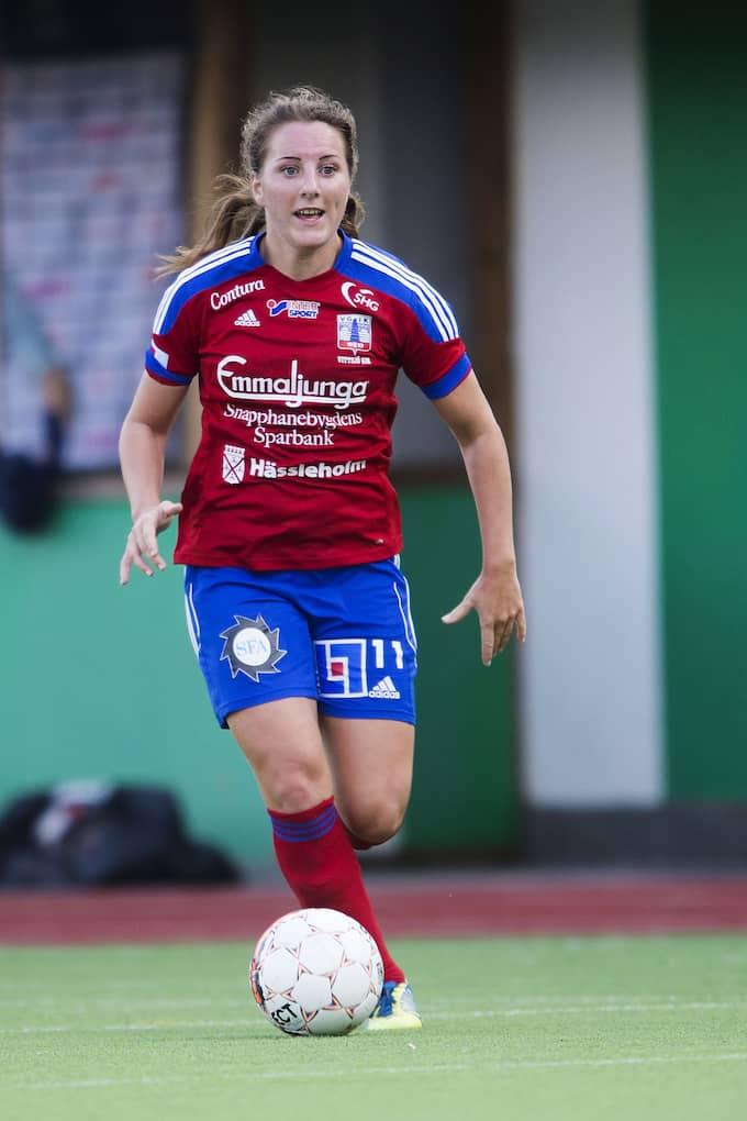 Antonia Göransson under fotbollsmatchen i Damallsvenskan mellan Hammarby och Vittsjö den 11 juli 2015. Foto: JOHANNA LUNDBERG / BILDBYRÅN