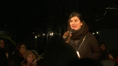 Sisella Nordling Blanco (Fi) var en av personerna som höll tal. Foto: Expressen TV