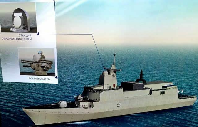 Reklam för den ryska flottans nya luftvärnsrobotarna Pantsir.