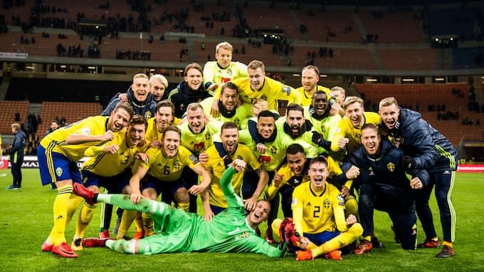 Det svenska landslaget firar VM–biljetten. Foto: PETTER ARVIDSON / BILDBYRÅN