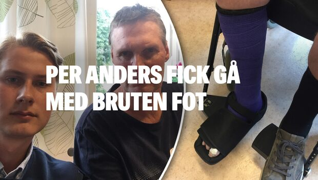 Demente Per Anders fick gå med bruten fot