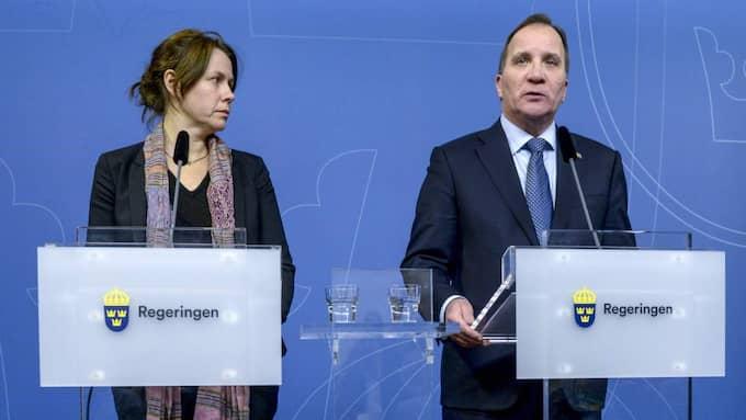Vice statsminister Åsa Romson (MP) och statsminister Stefan Löfven (S). Foto: Janerik Henriksson/Tt