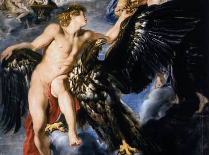 """""""Ganymedes förs bort"""", Peter Paul Rubens, cirka 1611. Enligt myten förälskade sig Zeus i den sköne ynglingen Ganymedes, förvandlade sig till en örn och förde bort honom. Ordet ganymed har därefter blivit synonymt med ung, vacker gosse."""