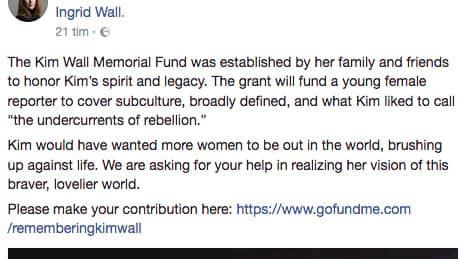 """Under fredagen la """"Kim Wall Memorial Fund"""" upp ett inlägg där man bad om donationer till en insamling som ska stödja kvinnliga journalister. Foto: Skärmdump"""