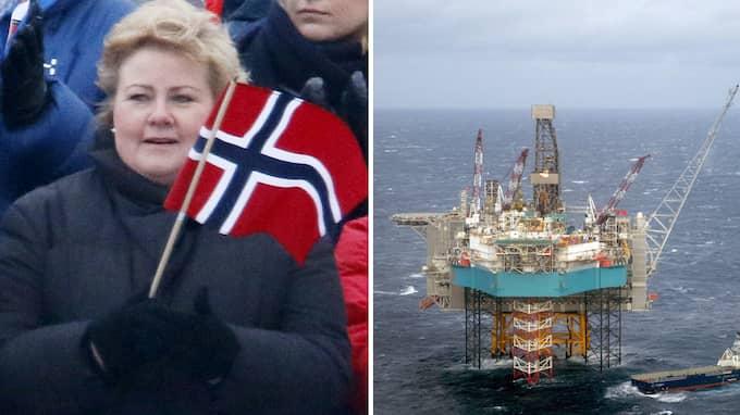 Norges statsminister Erna Solberg vill utvinna nya oljefält i norska Nordnorge. Här Edvard Grieg-fältet i Nordsjön. Foto: PATRIK C ÖSTERBERG/ALL OVER PRESS & HAKON MOSVOLD LARSEN / AP/TT NYHETSBYRÅN