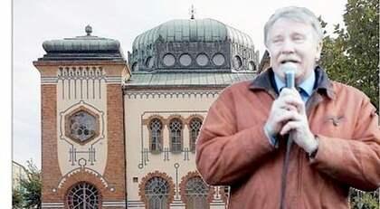"""I går skickade Mona Sahlin Malmös starke man, Ilmar Reepalu, till synagogan för att lära sig om judarnas utsatta situation i staden, efter hans """"olyckliga"""" uttalanden. BILDEN ÄR ETT MONTAGE Foto: JOACHIM WALL och SARA STRANDLUND"""