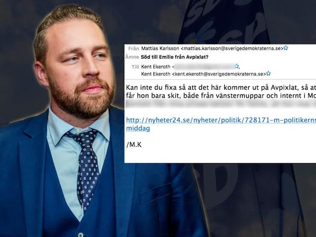 SD-toppen Mattias Karlsson kopplade in Avpixlat för att stötta förra M-politikern Emilie Pilthammar