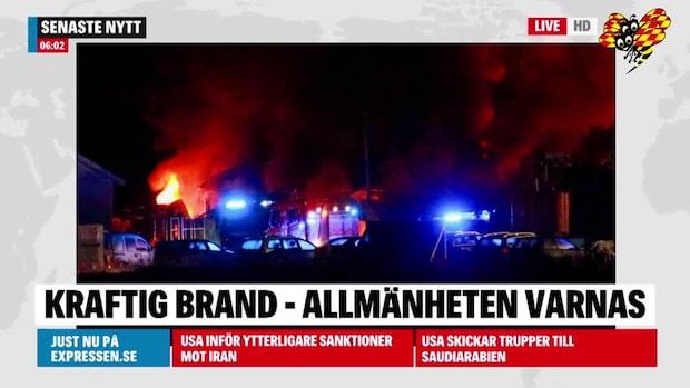 Kraftig brand i Dalarna – allmänheten varnas