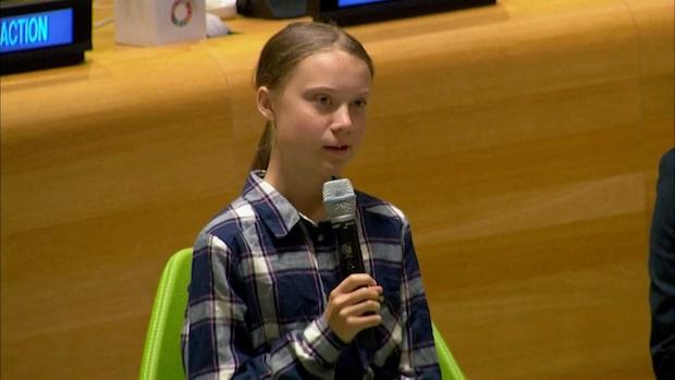 Hör Greta Thunberg tala till FN:s generalsekreterare António Guterres