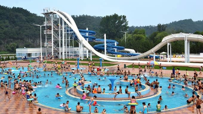 Här är bilderna från Kim Jong-Uns vattenpark Munsu Water Park i diktaturens Nordkorea. Foto: KCNA / REUTERS / TT / REUTERS TT NYHETSBYRÅN