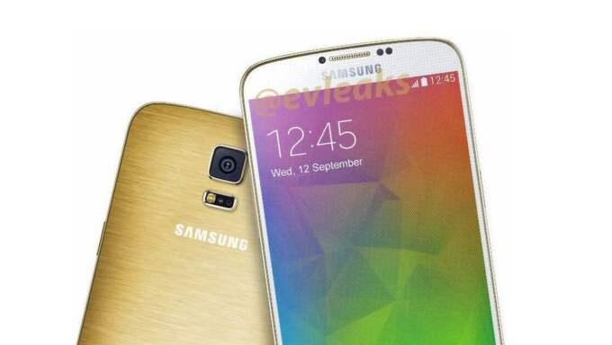 Bild på den kommande Galaxy F med guldfärgat skal. Foto: @evleaks