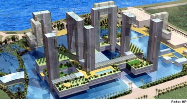 Skiss över ett av alla de kasinon som planeras i kinesiska Macau. Denna gång ska kasinot ligga under vattenytan i en speciell resort.