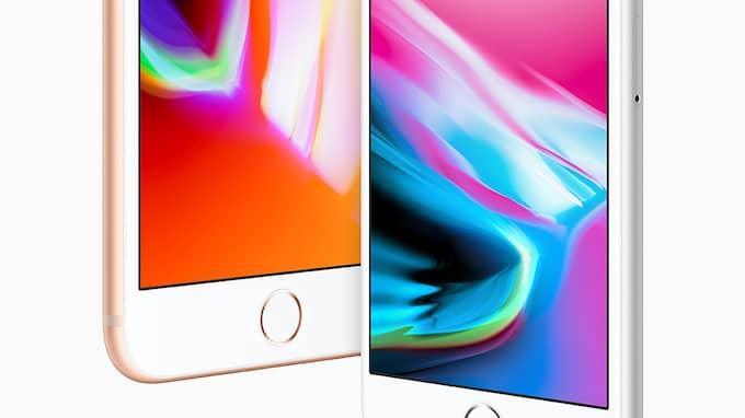 Iphone 8 Plus och Iphone 8 släpps före den mer exklusiva Iphone X. De kommer att levereras nästa fredag men går att förbeställa redan nu på fredag. Foto: APPLE INC. / HANDOUT / EPA / TT / EPA TT NYHETSBYRÅN