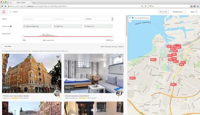 Airbnb finns i 33 000 städer. De här annonserna är från Malmö.