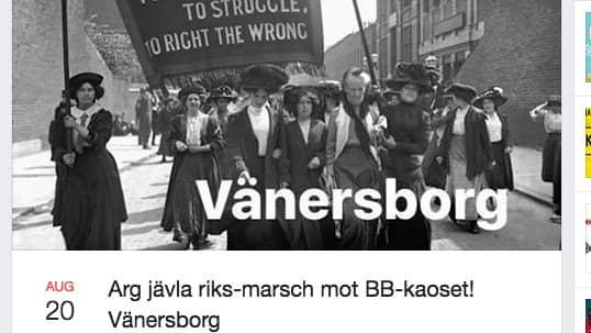 Arrangörerna av demonstrationen har en klassisk kvinnokampsbild på sin Facebooksida. Foto: Skärmdump Facebook