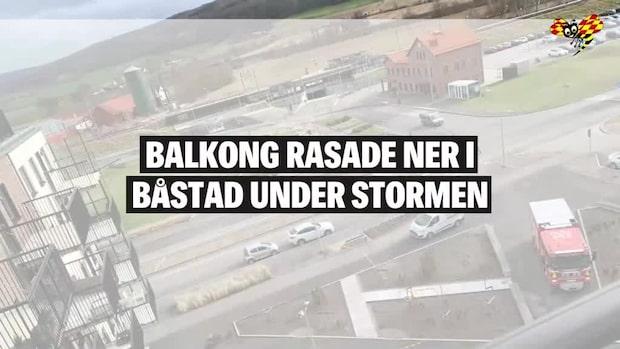 Balkong rasade ner i Båstad under stormen Laura