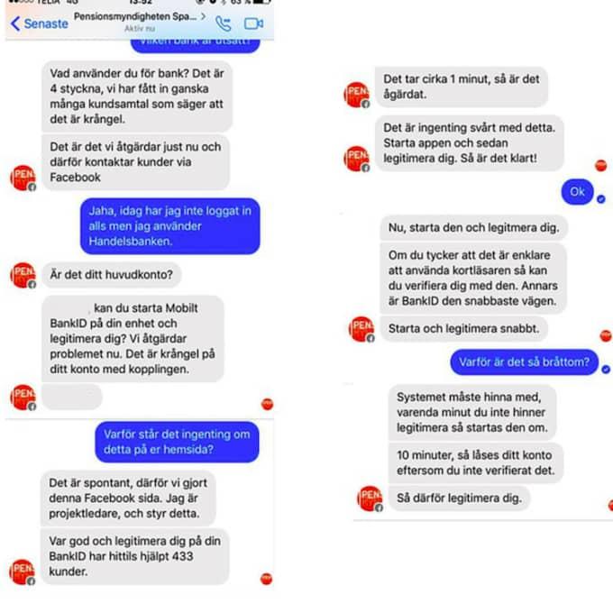 Här är en skärmdump från en konversation på Facebook med bedragarna.