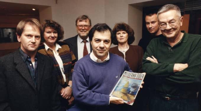 Redaktionen. Göran Rosenberg i mitten, Expressenmedarbetaren Anders Ehnmark till höger. Foto: Erich Stering