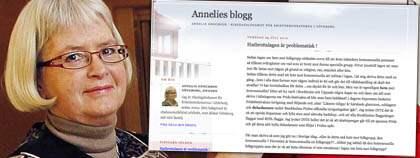 """Kristdemokraten Annelie Enochson skriver i sin blogg att hon känner sig """"beklämd"""" av Pridefestivalen. OBS! Bilden är ett montage. Foto: Cornelia Nordström"""