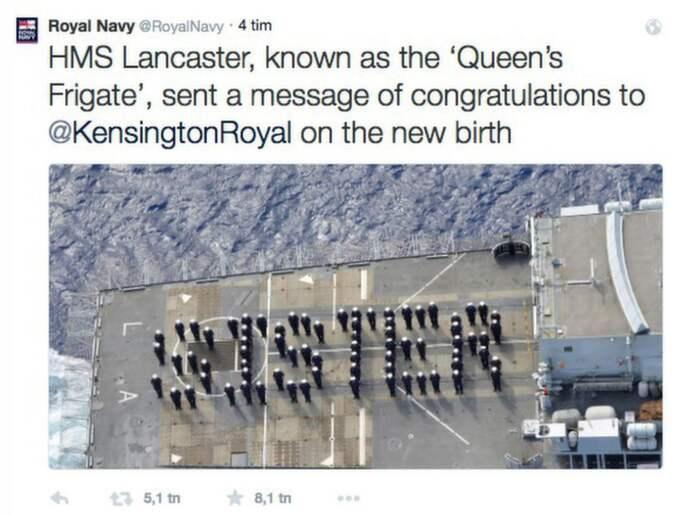 Besättningen på HMS Lancaster skickade en hälsning på Twitter till den nyfödda dottern. Foto: Skärmavbild Twitter